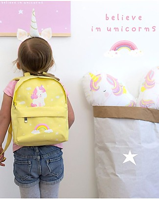 A Little Lovely Company Little Backpack, Unicorn, 20.5 x 28 x 12.5 cm - Yellow Large Backpacks