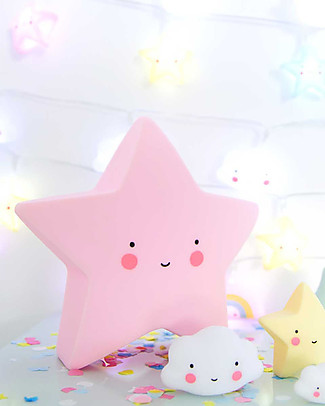 A Little Lovely Company Little LED Light, Star - Pink Bedside Lamps