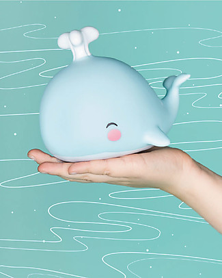 A Little Lovely Company Little LED Light, Whale - Light Blue Bedside Lamps