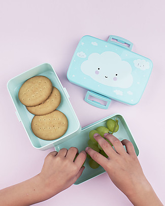A Little Lovely Company Lunch Box, Cloud - BPA Free! Snack and Formula Containers
