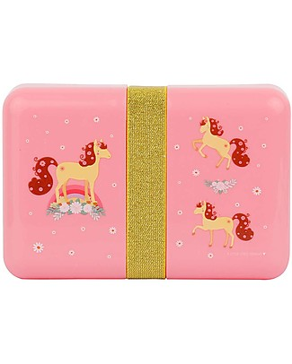 A Little Lovely Company Lunch Box with Stickers, Horse - BPA Free! Snack and Formula Containers