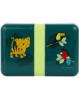 A Little Lovely Company Lunch Box with Stickers, Jungle Tiger - BPA Free! Snack and Formula Containers