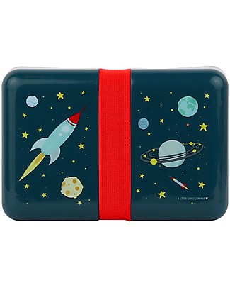 A Little Lovely Company Lunch Box with Stickers, Space - BPA Free! Snack and Formula Containers