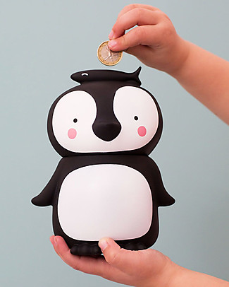 A Little Lovely Company Moneybox, Penguin - White/Black Money Box