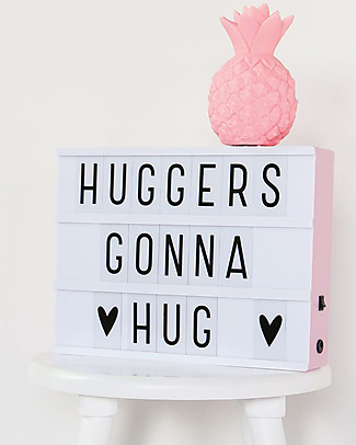 A Little Lovely Company New Model! Lightbox A4 with Adapter + 85 Letter, Pink Wall Lamps