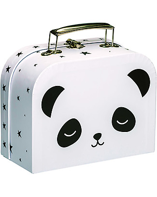 A Little Lovely Company Panda Little Suitcase, Black/White - 100% Recycled Cardboard Travel Bags