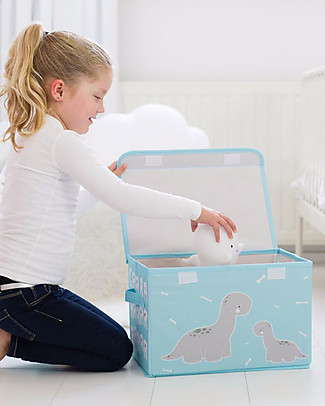 A Little Lovely Company Pop-up Box, Brontosaurus - Light Blue Toy Storage Boxes