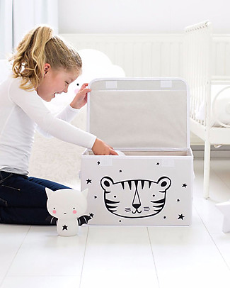 A Little Lovely Company Pop-up Box, Roar - Black and White Toy Storage Boxes
