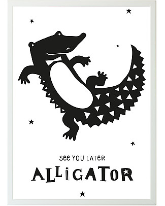 A Little Lovely Company Poster, Alligator - Black and White Posters