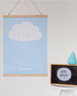 A Little Lovely Company Poster Blue Cloud - 50x70 cm Posters