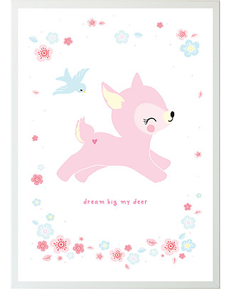 A Little Lovely Company Poster, Deer - Pink/White Posters