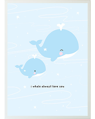 A Little Lovely Company Poster Light Blue Whale - 50x70 cm Posters