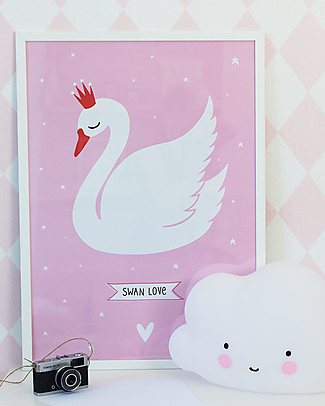 A Little Lovely Company Poster, Swan - Pink and White Posters