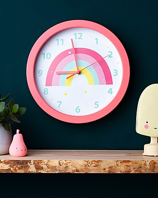 A Little Lovely Company Rainbow Clock - Pink - With numbers! Room Decorations
