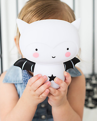 A Little Lovely Company Rechargeable Night Light, Bat - Black & White Bedside Lamps