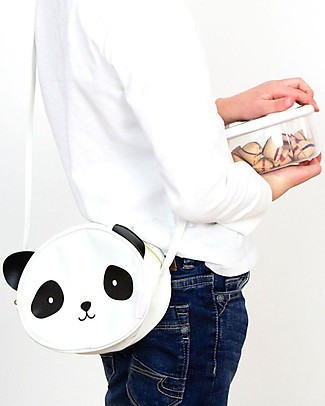 A Little Lovely Company Shoulder Bag, Panda - Black and White Messenger Bags