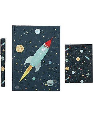 A Little Lovely Company Stationery Set, (Hardcover notebook, little writing pad, pen) - Space Creative Toys