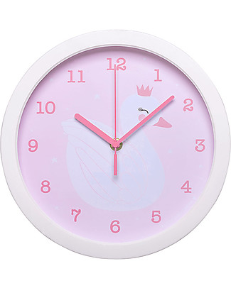 A Little Lovely Company Swan Clock - White and Pink - WIth numbers! Room Decorations