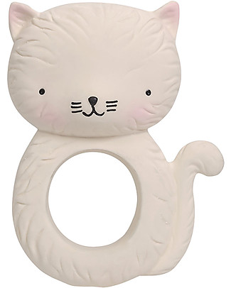A Little Lovely Company Teething Ring, White Kitty - 100% Natural Rubber Teethers