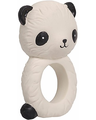 A Little Lovely Company Teething Ring, White Panda - 100% Natural Rubber Teethers