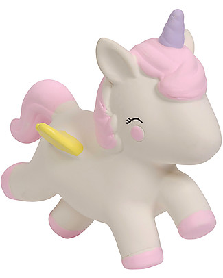 A Little Lovely Company Teething Toy, White Unicorn - 100% Natural Rubber Teethers