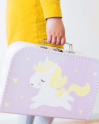 A Little Lovely Company Unicorn Suitcase, Lilac - 100% Recycled Cardboard Travel Bags