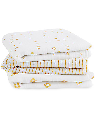Aden & Anais 3-Pack Multi-use Musy Cloths - Gold Metallic Collection - 70 x 70 cm - 100% Cotton Muslin (Cool and Soothing) Swaddles