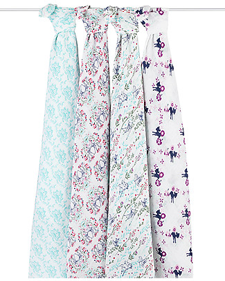 Aden & Anais Bambi Classic Swaddles Set of 4 Multi-use 100% Cotton Muslin Swaddles