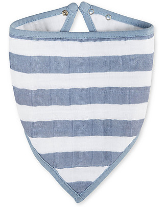 Aden & Anais Bandana Bib White/Blue Stripes - 100% cotton muslin (super soft and absorbent) Bandana Bibs