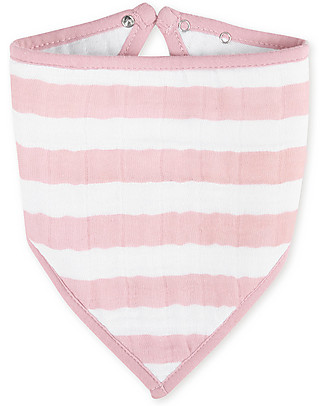 Aden & Anais Bandana Bib White/Pink Stripes - 100% cotton muslin (super soft and absorbent) Bandana Bibs