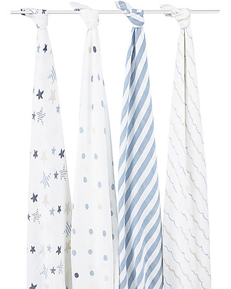 Aden & Anais Blue Classic Swaddles Set of 4 Multi-use 100% Cotton Muslin Swaddles