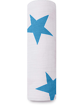 Aden & Anais Classic Swaddle Single - Brilliant Blue - 100% Cotton Muslin Swaddles