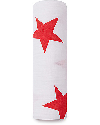 Aden & Anais Classic Swaddle Single - Radiant Red - 100% Cotton Muslin Swaddles