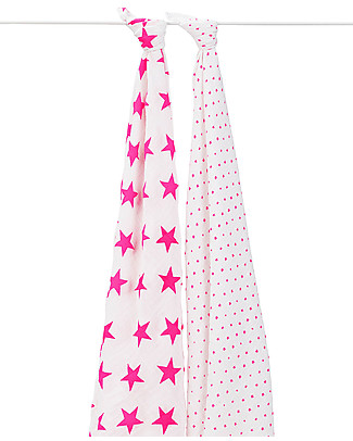 Aden & Anais Fluoro Pink Multi-use Swaddles - 2 pack - 100% Cotton Muslin Swaddles