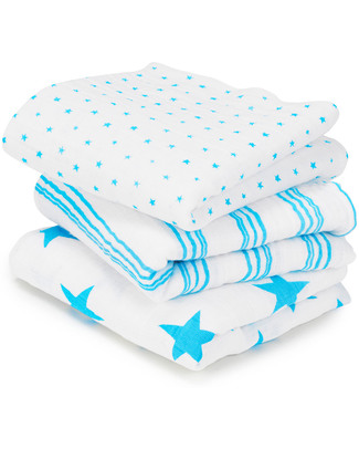 Aden & Anais Fluro Blue Musy™ - multiuse Muslin cloths - 3 pack - 100% cotton muslin - 70 x 70 cm Muslin Cloths