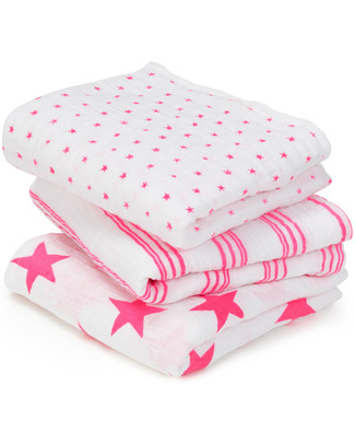 Aden & Anais Fluro Pink Musy™ - multiuse Muslin cloths - 3 pack - 100% cotton muslin - 70 x 70 cm Muslin Cloths