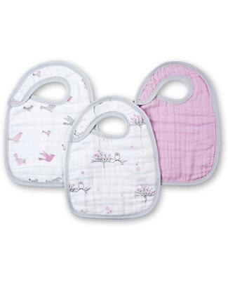 Aden & Anais For the Birds Snap Bibs - 3 Pack 100% cotton muslin (super soft and abosrobant) Snap Bibs