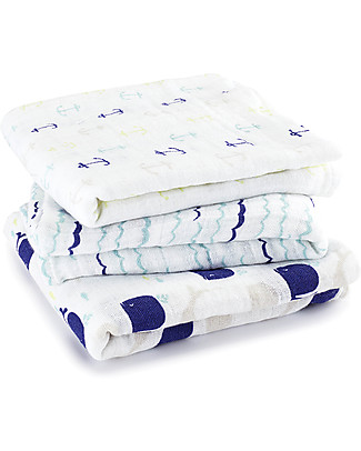Aden & Anais High Seas Multi-use Muslin Squares (100% cotton muslin) - 70x70 cm Swaddles