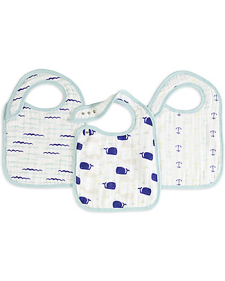 Aden & Anais High Seas Snap Bibs - 3 Pack 100% cotton muslin (super soft and absorbent) Snap Bibs