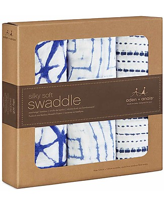 Aden & Anais Indigo Bamboo Swaddles - 3 Pack - 100% Bamboo Muslin (Cool and Soothing) Swaddles