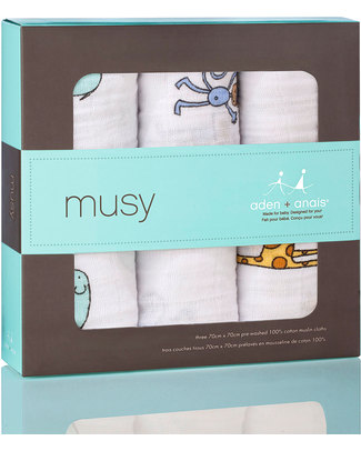 Aden & Anais Jungle Jam Musy - multiuse Muslin cloths - 3 pack - 100% cotton muslin - 70 x 70 cm Muslin Cloths