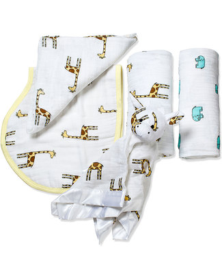 Aden & Anais Jungle Jam New Beginnings Gift Set (4 gifts in 1) Swaddles