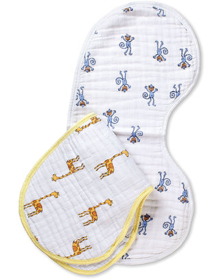 Aden & Anais Jungle Jam set of 2 Burpy Bibs® - 100% Cotton Muslin Burpy Bibs