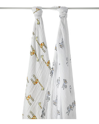 Aden & Anais Jungle Jam set of 2 Multi Use Swaddles - 100% cotton muslin  -  120 x 120 cm Swaddles