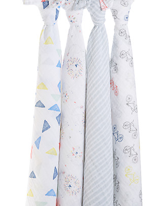 Aden & Anais Leader of the Pack Classic Swaddles Set of 4 Multi-use 100% Cotton Muslin Swaddles