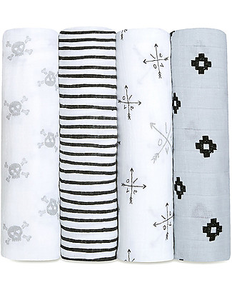 Aden & Anais Love Struck  Classic Swaddles Set of 4 Multi-use 100% Cotton Muslin Swaddles