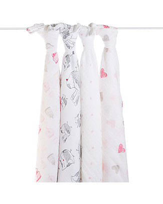 Aden & Anais Lovebird Classic Swaddles Set of 4 Multi-use 100% Cotton Muslin Swaddles