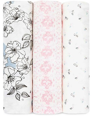 Aden & Anais Meadowlark Bamboo Swaddles - 3 Pack - 100% Bamboo Muslin (Cool and Soothing) Swaddles