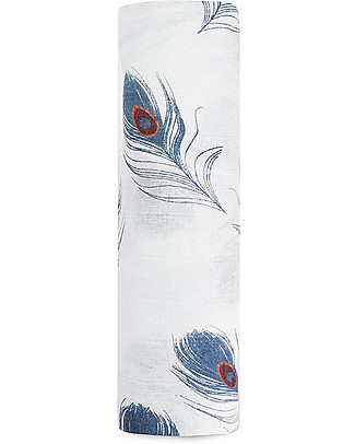 Aden & Anais Midnight Multi-use Swaddle - Peacock -100% Bamboo Muslin  Swaddles