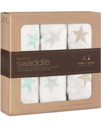 Aden & Anais Milky Way Bamboo swaddles 3 pack - 100% Bamboo Muslin (cool and soothing) Swaddles